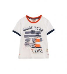 COTTON SHORT SLEEVE T-SHIRT WITH PRINT AND PATCH