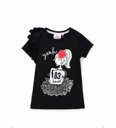 SHORT SLEEVE T-SHIRT WITH RUFFLES AND RHINESTONES