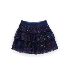 SKIRT WITH PRINTED TULLE FLOUNCES