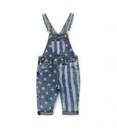 DUNGAREES IN ELASTICIZED DENIM AND ALL OVER PRINT