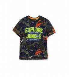 COTTON SHORT SLEEVE T-SHIRT WITH ALL OVER PRINT