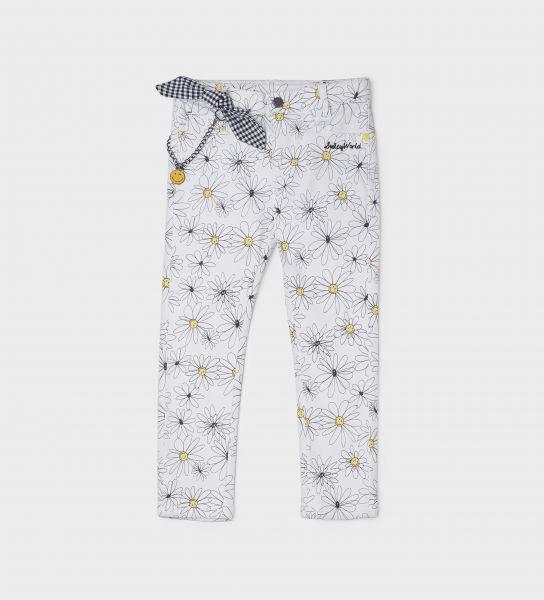 Pantaloni Smiley da bambina con fiocco vichy