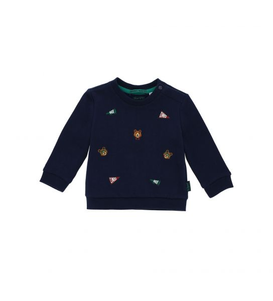 COTTON SWEATSHIRT WITH PRINT AND EMBROIDERY IN FRONT
