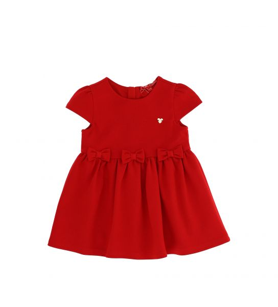 DRESS IN PUNTO ROMA AND BOWS