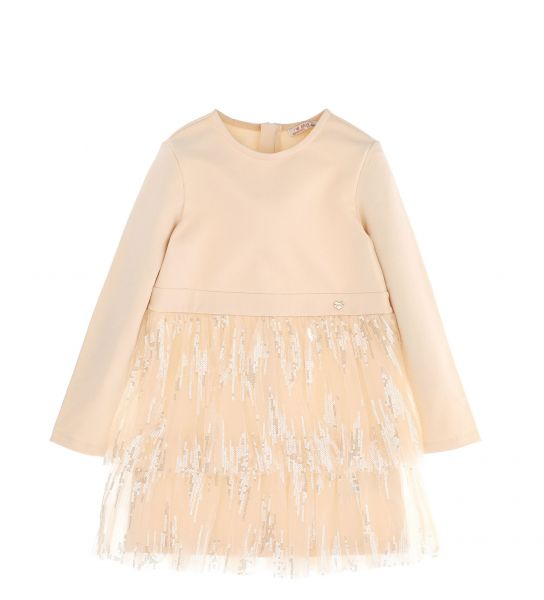 DRESS WITH TULLE FLOUNCES