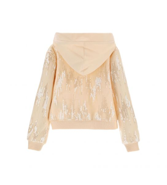 SWEATSHIRT WITH ALL OVER SEQUINS ON TULLE