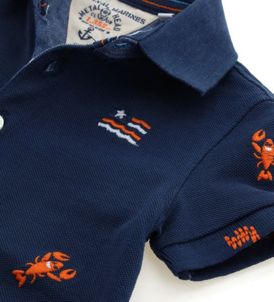 POLO PIQUET MANICA CORTA ED EFFETTO DENIM DAVANTI