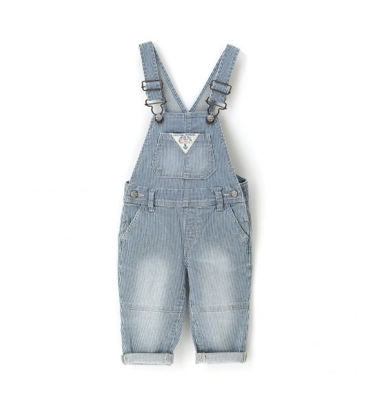DENIM EFFECT STRETCH COTTON DUNGAREES