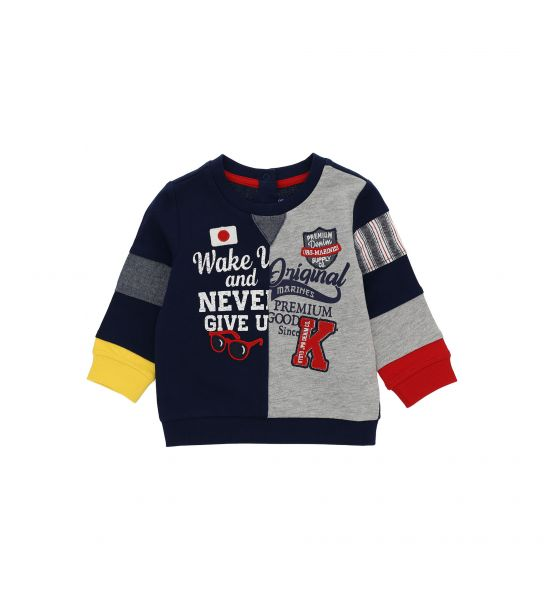 SWEATSHIRT WITH PRINT AND EMBROIDERED PATCH