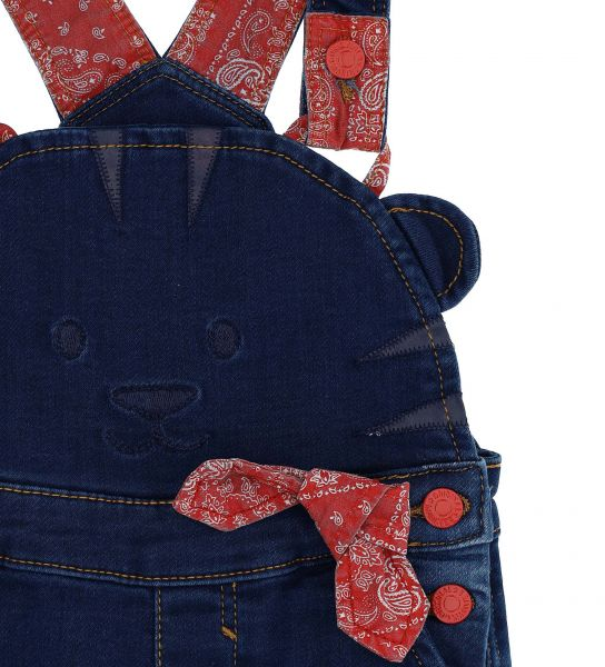 DENIM FLEECE DUNGAREES WITH BRACES