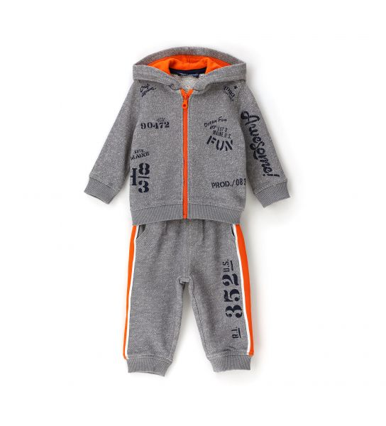 COTTON SWEATSUIT WITH LINED HOOD