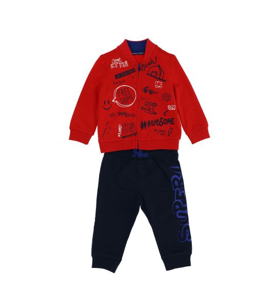 COTTON SWEATSUIT WITH RIB FINISHES AND PRINTS