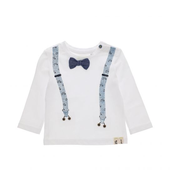 LONG SLEEVE T-SHIRT WITH REAL BUTTONS AND PAPILLON PRINT