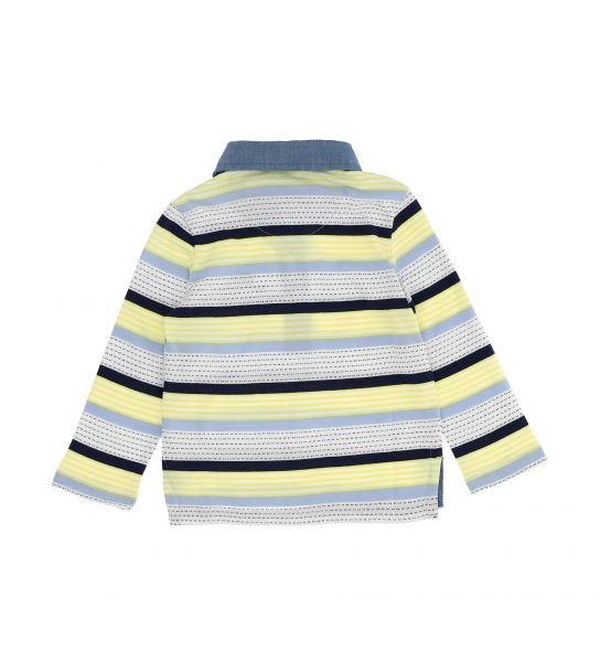 STRIPED YARN-DYED LONG SLEEVE COTTON POLO SHIRT