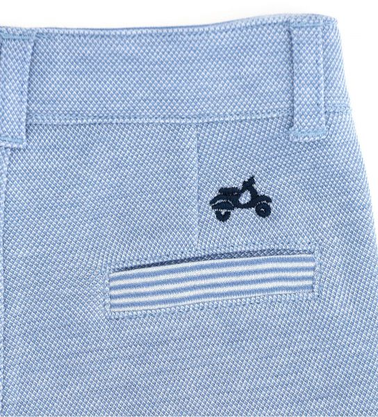 DOUBLE COTTON TROUSERS IN OXFORD PIQUET OUTSIDE