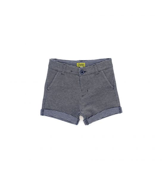DOUBLE COTTON BERMUDA SHORTS IN OXFORD PIQUET