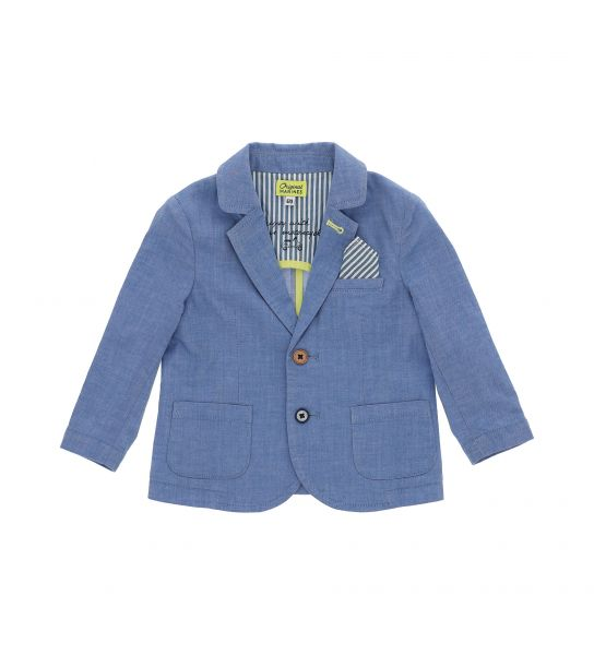 DENIM EFFECT STRETCH COTTON JACKET