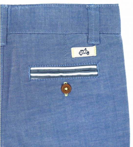 DENIM EFFECT STRETCH COTTON BERMUDA
