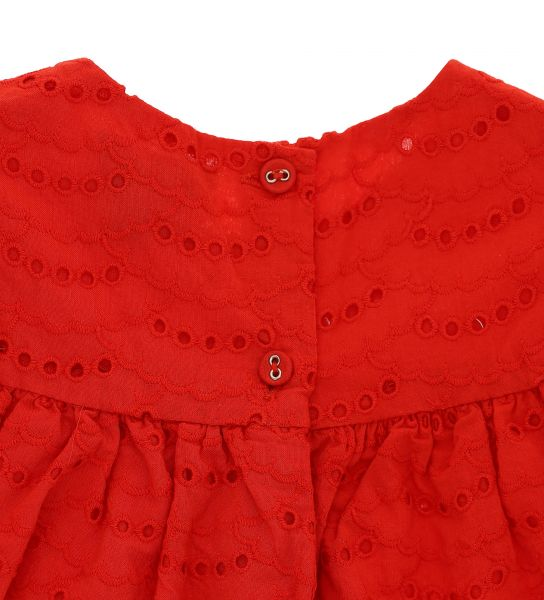 PERFORATED EMBROIDERED COTTON BLOUSE