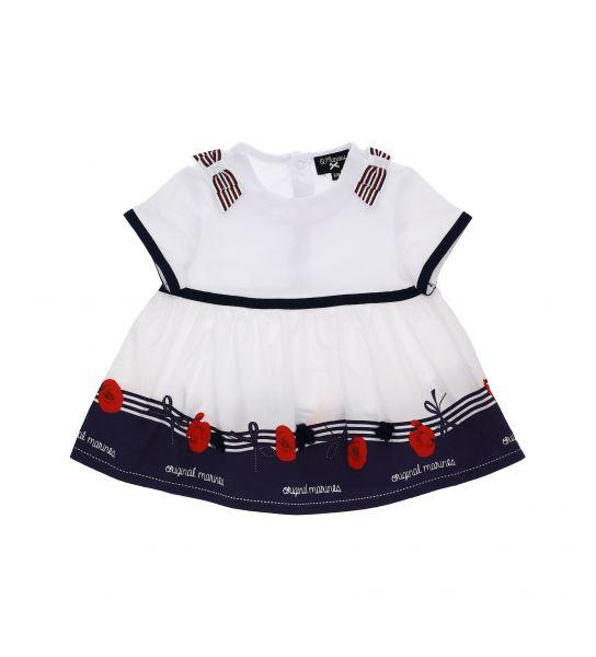 ELASTICIZED DRESS WITH SATIN FLOUNCES