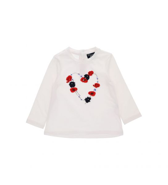LONG SLEEVE T-SHIRT WITH FLOWER MOTIFS IN TULLE