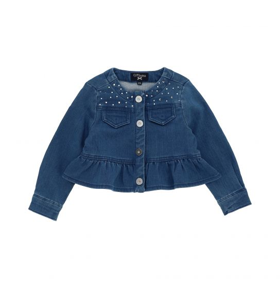 ELASTICIZED DENIM FLEECE JACKET