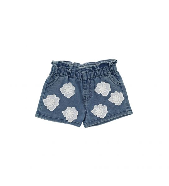SHORT DENIM WITH EMBROIDERED FLOWER MOTIFS