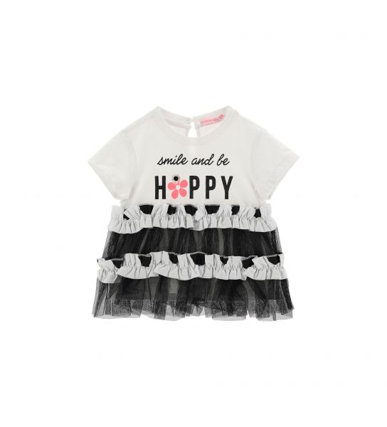 SHORT SLEEVE T-SHIRT WITH TULLE AND RUFFLE INSERT