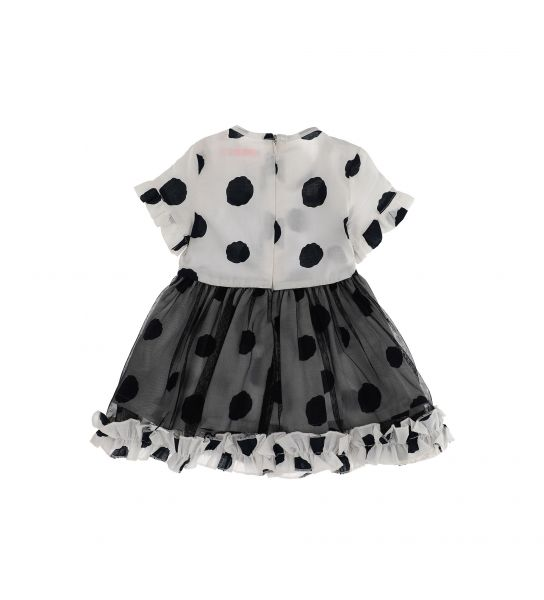 SHORT SLEEVE DRESS AND FLOUNCE WITH RUFFLES