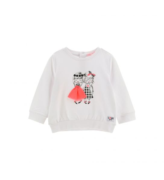 ELASTICIZED SWEATSHIRT WITH GLITTER PRINT