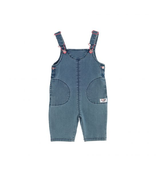 DENIM DUNGAREES AND POCKET WITH FLAP