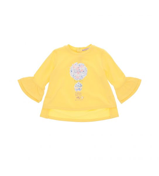 LONG SLEEVE T-SHIRT WITH DOUBLE RUFFLES