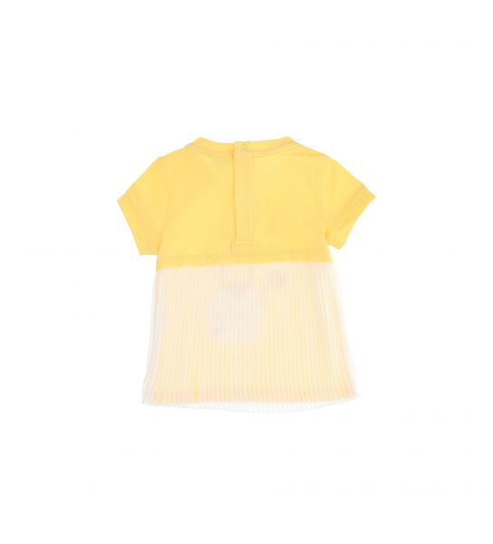 SHORT SLEEVE T-SHIRT AND PLEATED CREPE