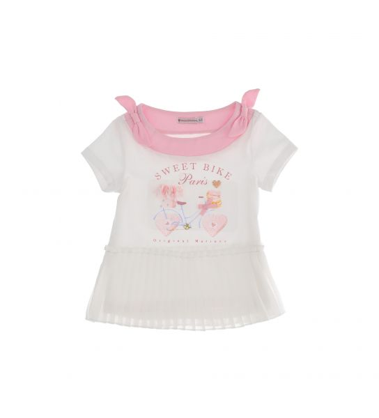 SHORT SLEEVE COTTON T-SHIRT WITH BOWS ON THE SIDES