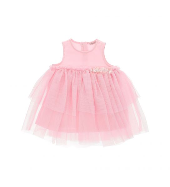 STRETCH COTTON DRESS AND FLOUNCE TULLE