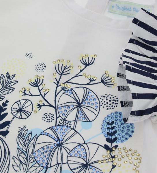 COTTON T-SHIRT WITH PRINTED VOLANT SLEEVE