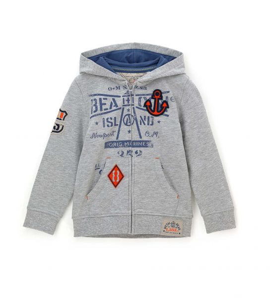 COTTON HOODED SWEATSHIRT WITH PRINT AND EMBROIDERED PATCHES