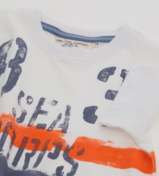 COTTON SHORT SLEEVE T-SHIRT WITH ROUND NECK AND PRINTS
