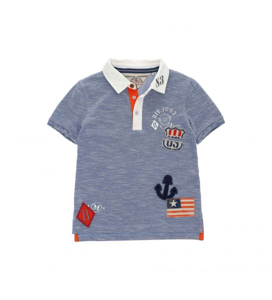 POLO SHORT SLEEVE PIQUET PRINT AND PATCH