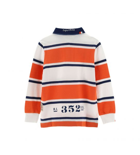 STRIPED LONG SLEEVE PIQUET POLO SHIRT
