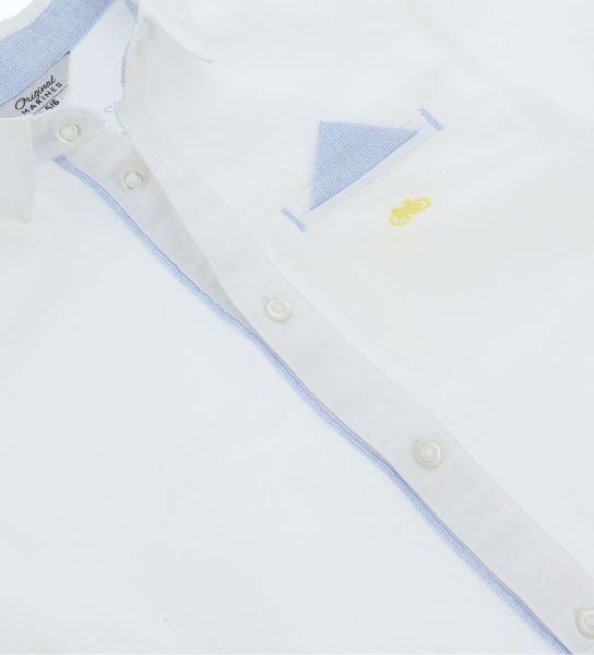 COTTON SHORT SLEEVE SHIRT WITH BUTTONS OPENING