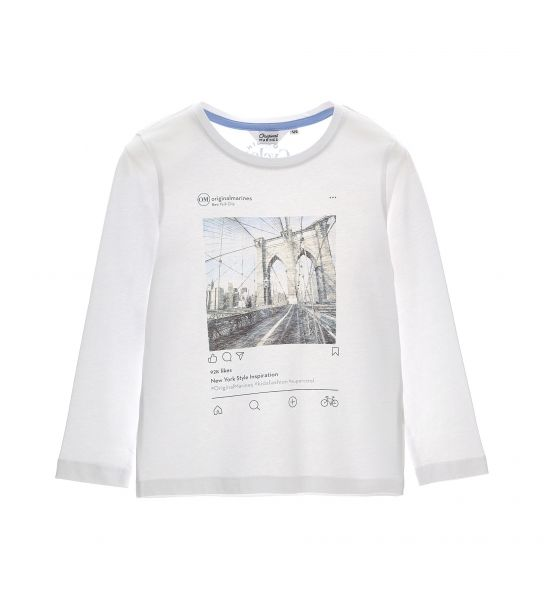 LONG SLEEVE T-SHIRT WITH ROUND NECK AND PRINT