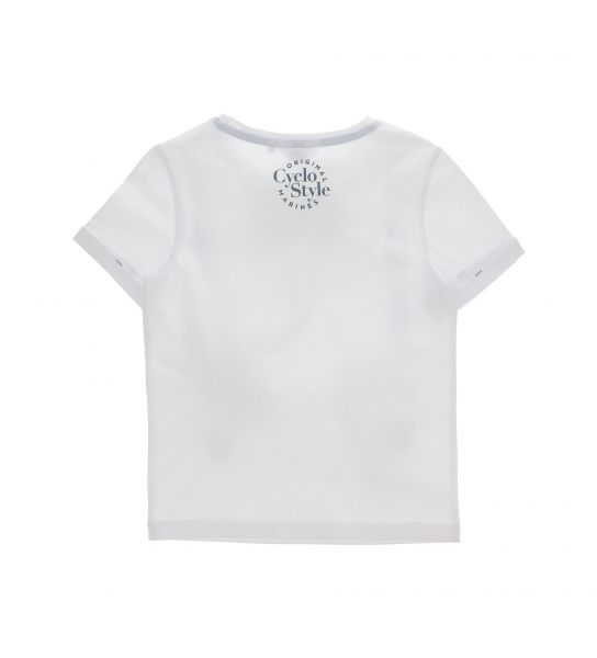 COTTON SHORT SLEEVE T-SHIRT WITH ECO-LEATHER DETAILS