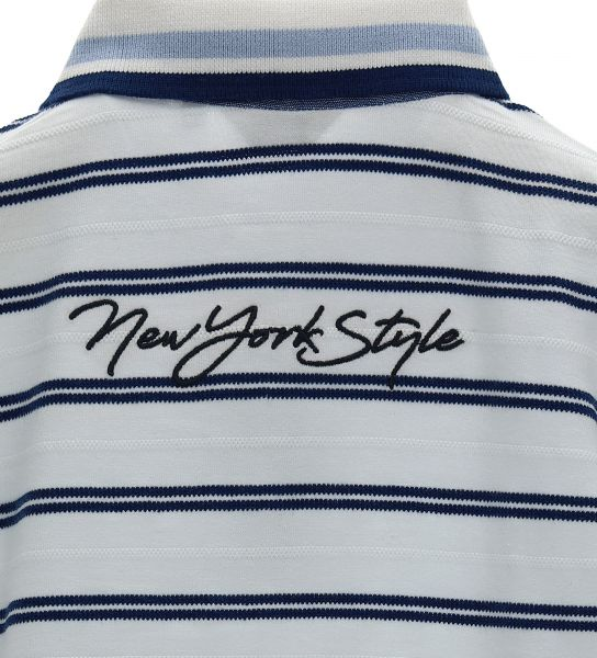 STRIPED YARN-DYED COTTON LONG SLEEVE POLO