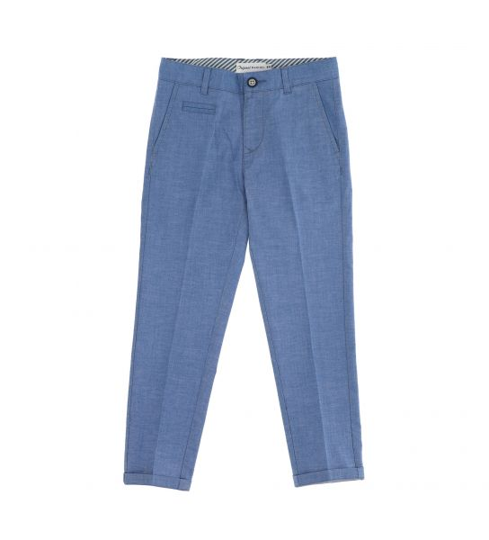 DENIM EFFECT STRETCH COTTON TROUSERS