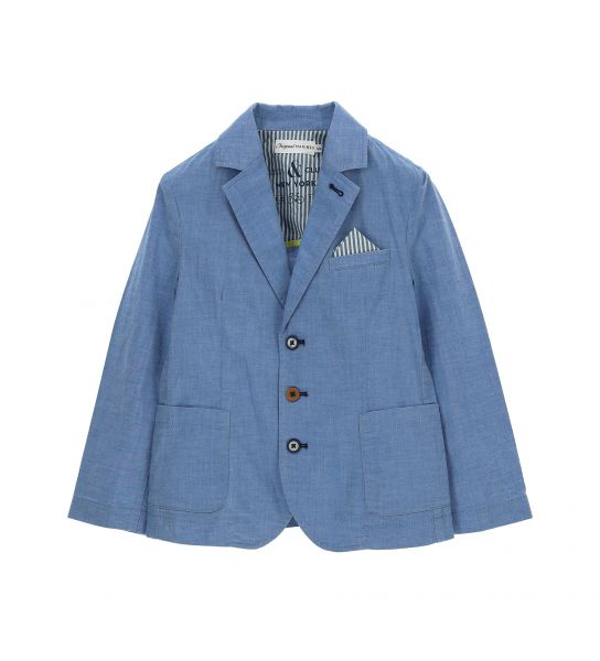 JACKET IN STRETCH COTTON AND REVER COLLAR