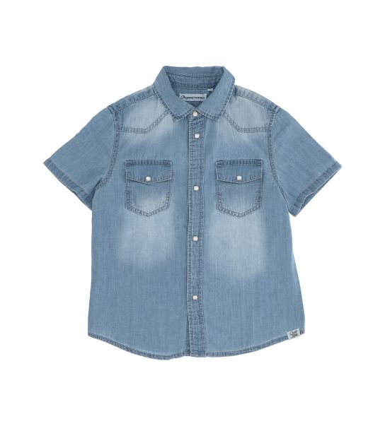 SHORT SLEEVE COTTON DENIM SHIRT WITH BUTTONS