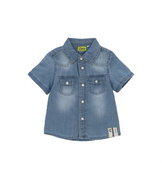 SHORT SLEEVE SHIRT IN COTTON DENIM