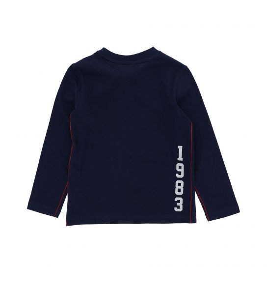 LONG SLEEVE COTTON T-SHIRT AND EMBROIDERED PATCH