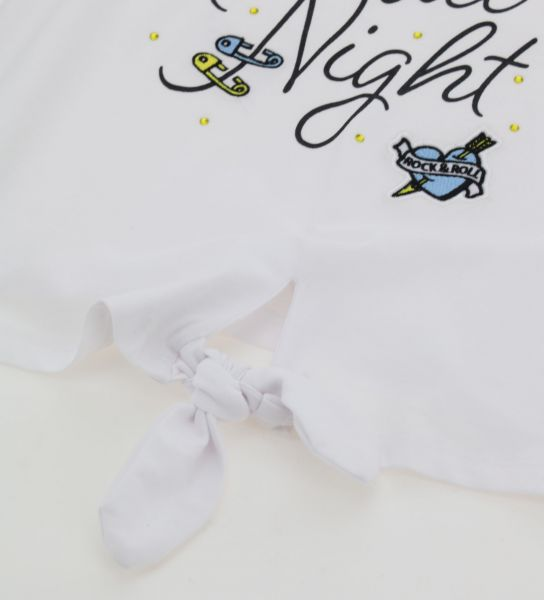 T-SHIRT WITH GLITTER AND KNOT